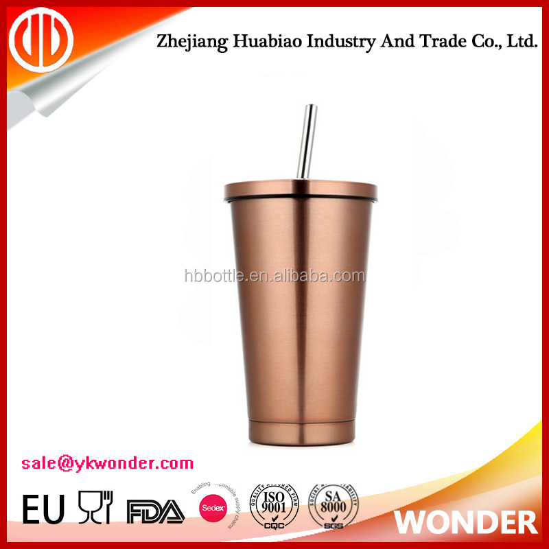 Factory price High quality the new style straw cups stainless steel vacuum insulation cup coffee cup
