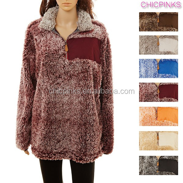 Wholesale Woman Clothing Sherpa Frosted Fleece Pullover - Buy ...