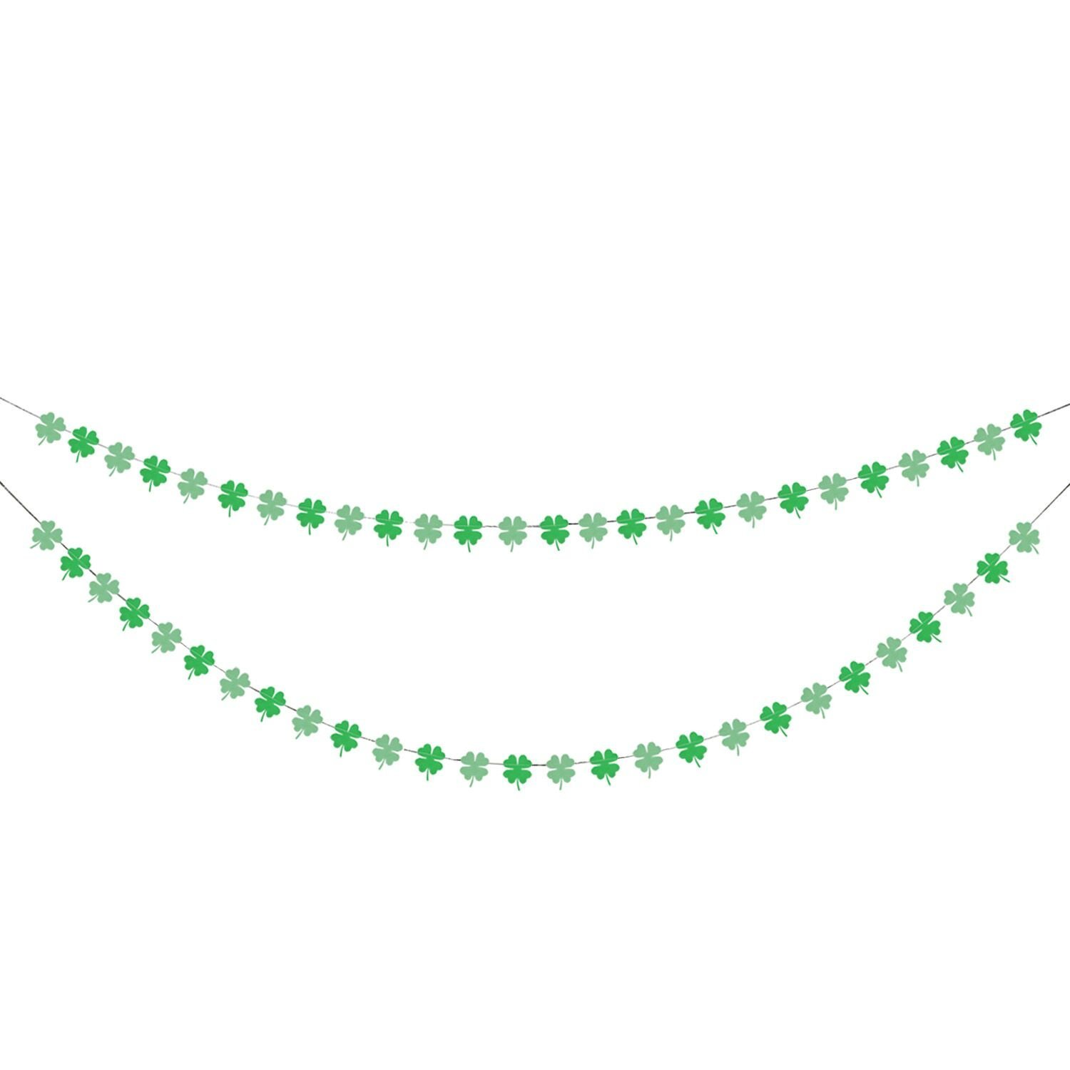 Paper Shamrock Clover Garland Banner - St. Patrick 's Day Banner Decor - St. Patrick 's Day Garland Decorations - Irish Party Supplies - Green and Light Green Color
