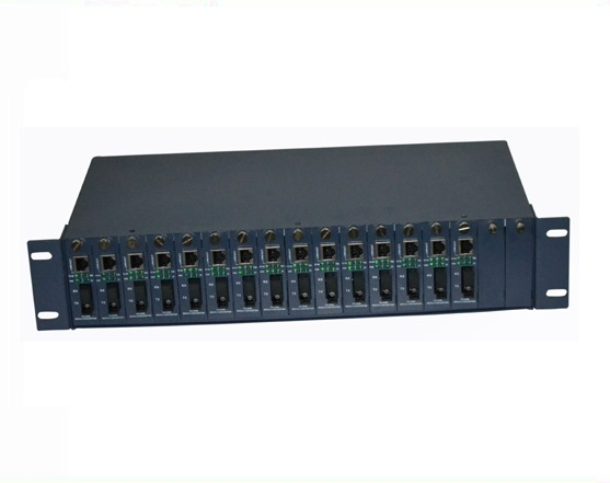 14 slots unmanaged Chassis Media Converter with 90mm (H) * 485mm (W) * 245mm (D)