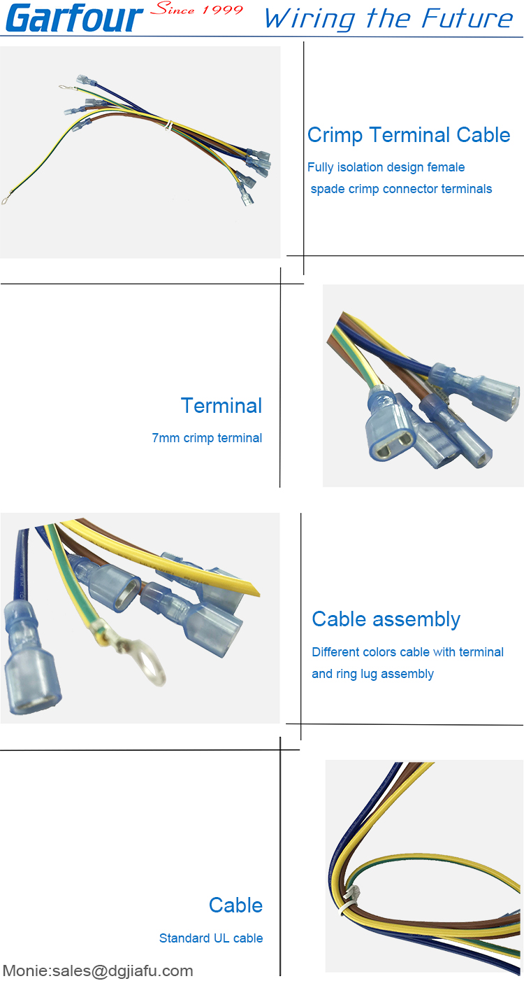 7mm crimp terminal cable assembly for spade connector wire