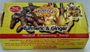 Beauty Set : Turmeric and Ginger Herbal Cleansing Soap : 6 Pieces [Free Facial Hair Epicare Spring A1Remover]