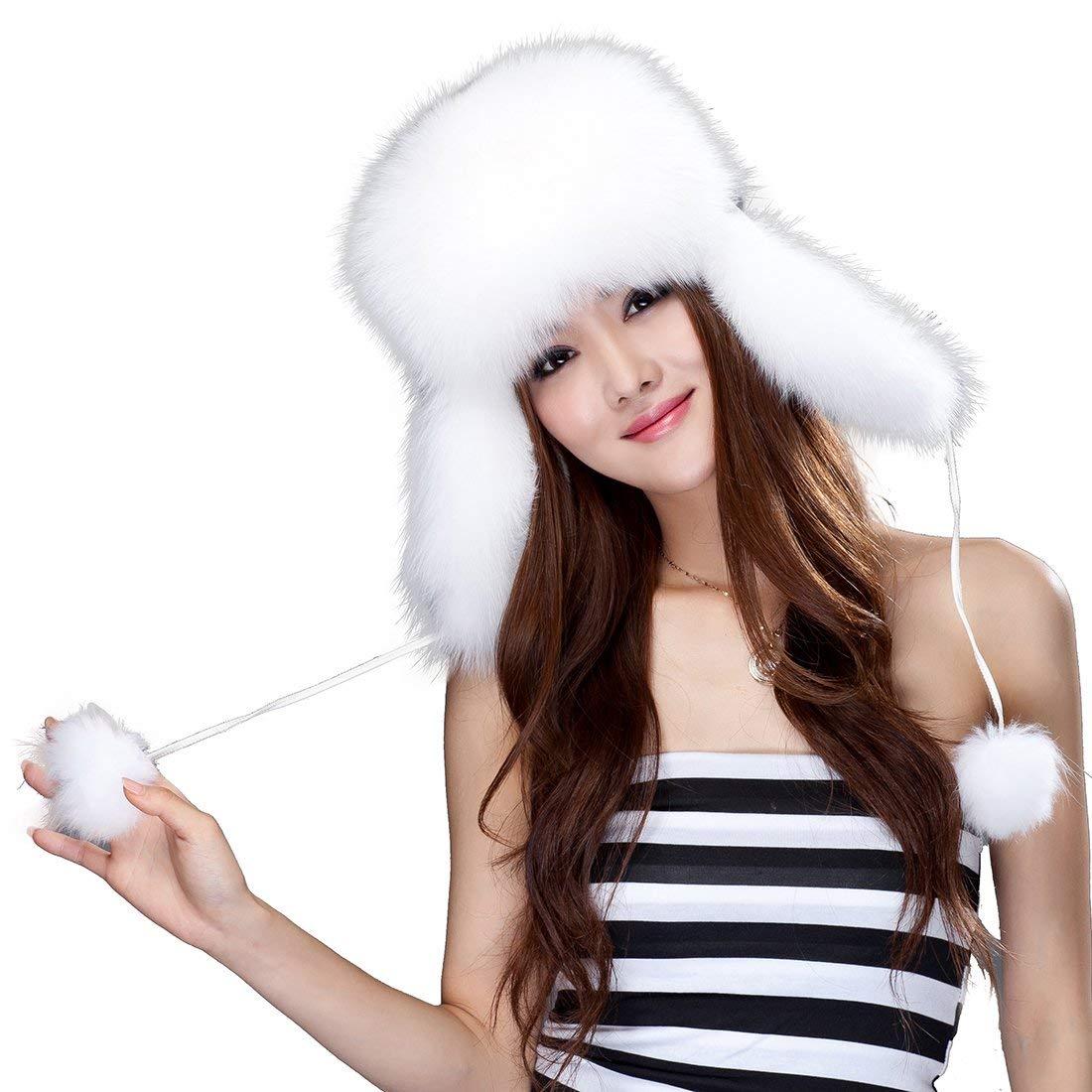 be4a58b90475e Get Quotations · URSFUR Fox Fur Russian Ushanka Hat Women s Fur Hat with  Earflaps   Pom-poms