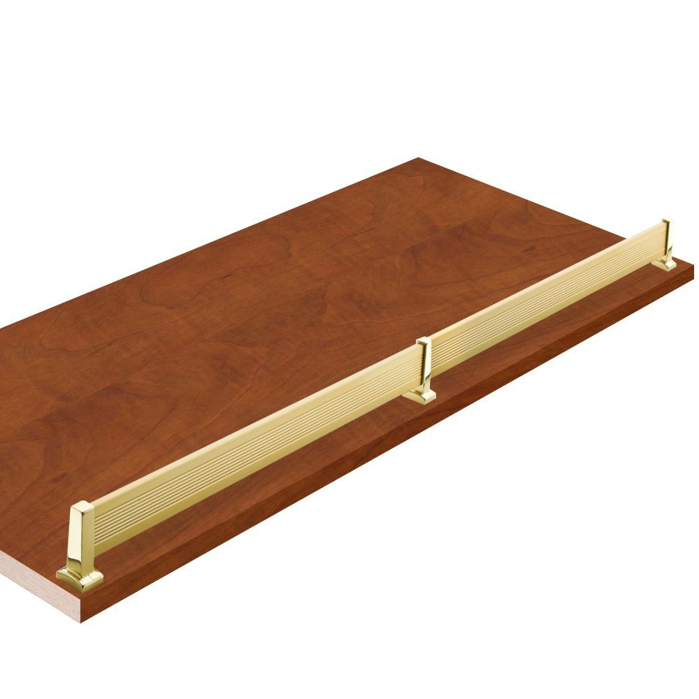"""20"""" W x 12"""" L, Autumn Glow Closet Shelves with matt brass shoe fence and PVC Edge Banding in front - CHOOSE YOUR SIZE - 2 Pack"""