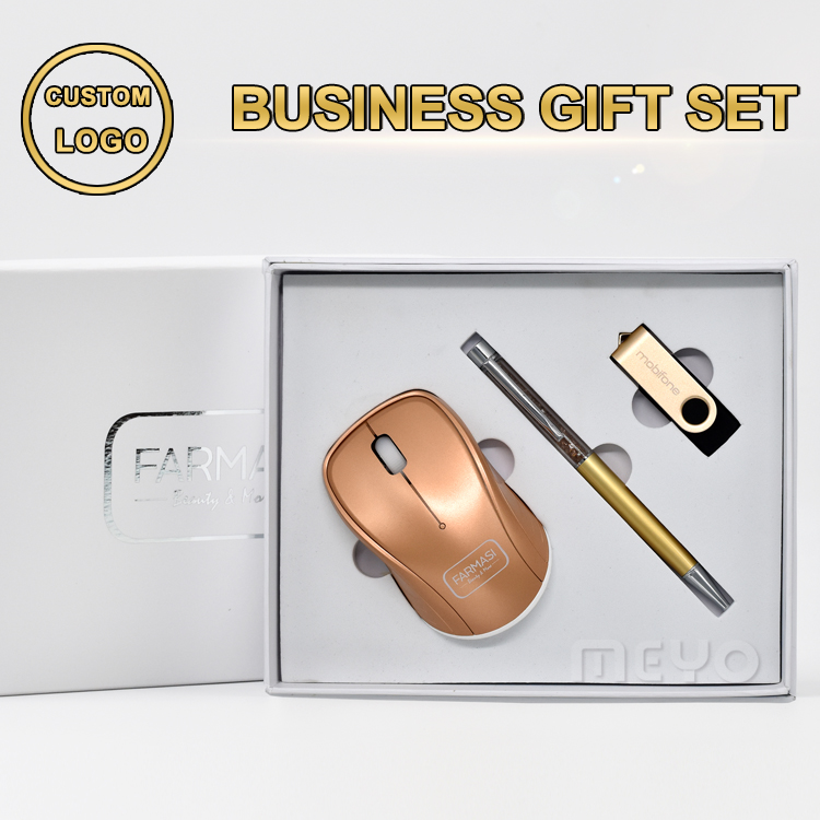 2017 executive gift in optical bluetooth wireless mouse and crystal stylus pen and engraving logo usb drive