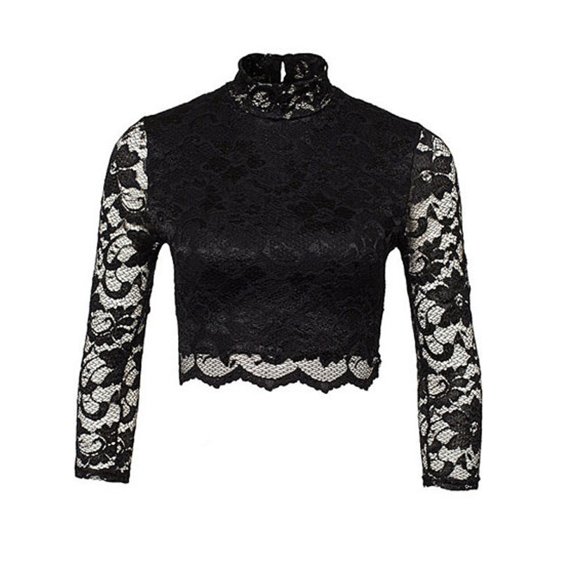 Sexy Seven Sleeve Turtleneck Lace Stitching T Shirt 2015 Sheer Black Lace Perspective Mesh Stitching Crop Tops All-match T-shirt