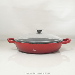 enamel cast iron oblate Dutch Oven with glass lid