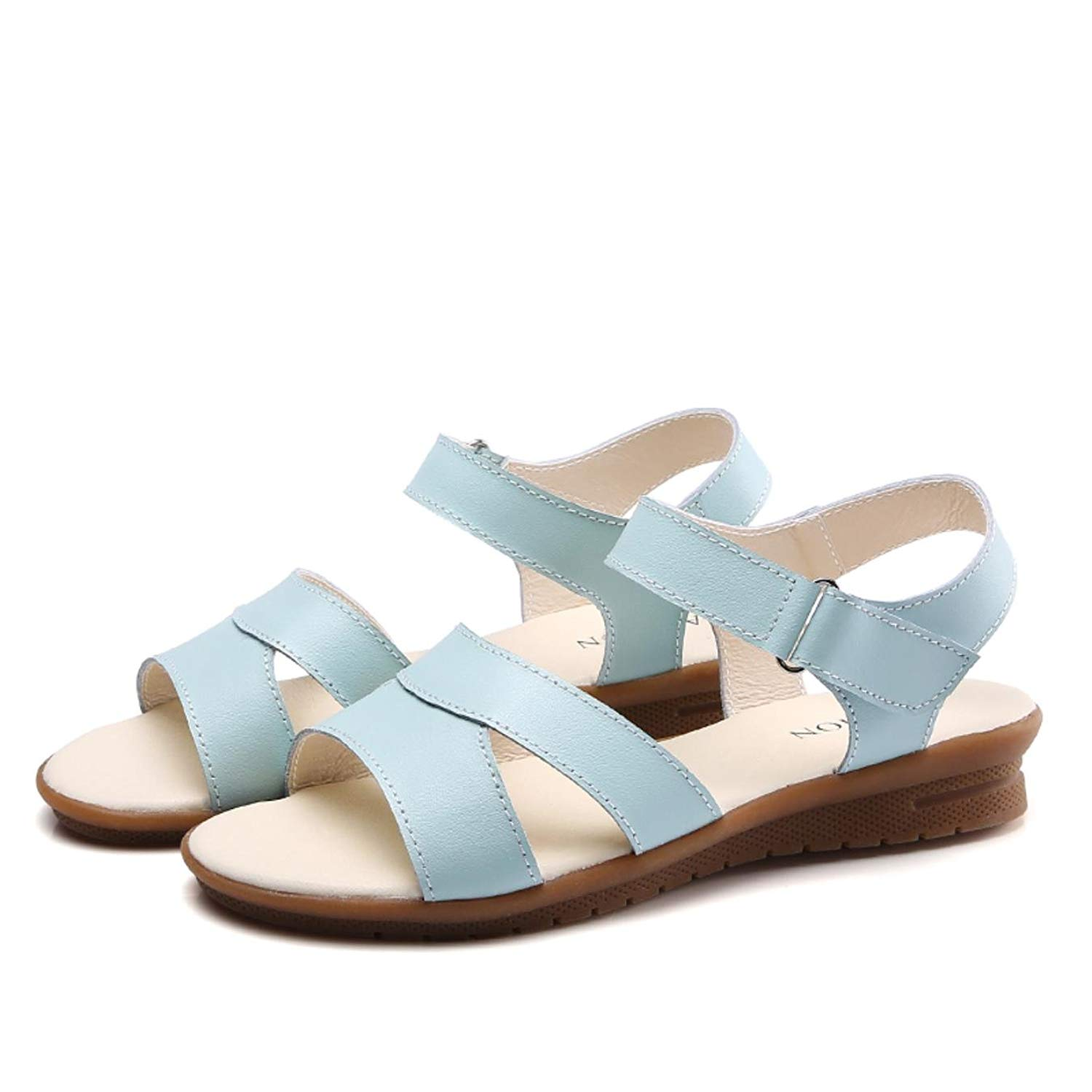 9ea0b07be Get Quotations · Women Sandals Summer Cow Leather Flat Sandals Ankle Strap Flat  Sandals