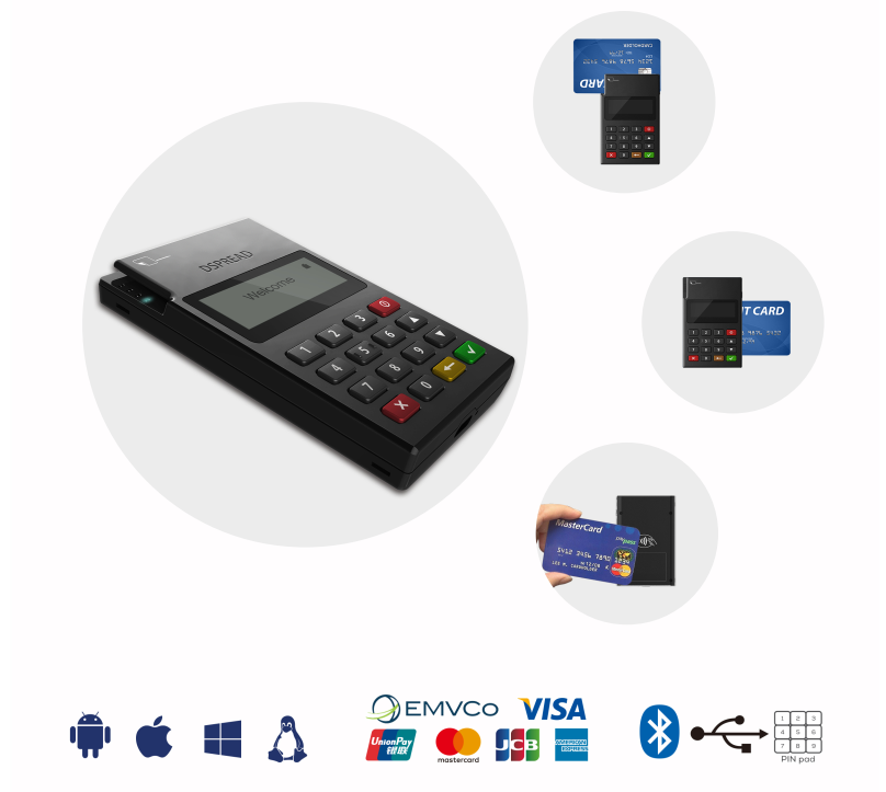 Chip di carta di credito reader writer bluetooth mpos con EMV PCI POS