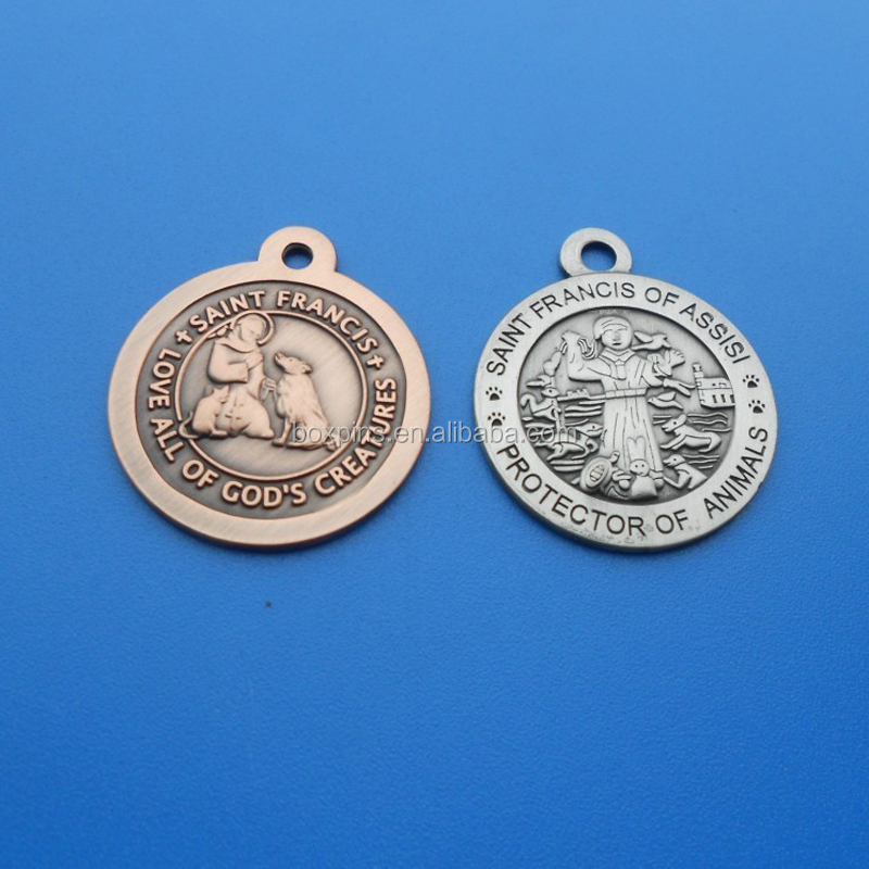 Saint Francis Love Of Dog embossed metal religious dog tags