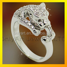 Exalted Dragon head type mirror polished 925 sterling silver ring with cz setting by hand