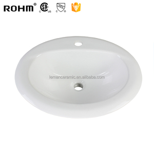 LM-227 Single Faucet White Kitchen Sink Ceramic Wash Basin Oval Shaped Price Design Table Top Basin for Bathroom Sink