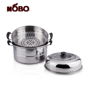 Double layer kitchen cooking tools custom steamer pot cookware stainless steel with metal lid