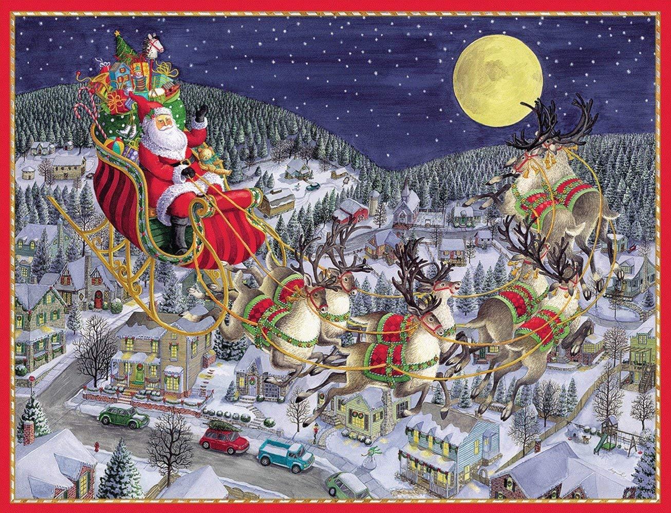 Caspari Christmas Cards.Buy Entertaining With Caspari Santa And Sleigh Over