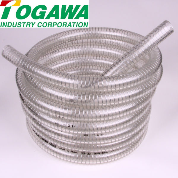 Easy cutting PVC hose with cut mark for vacuum suction. Manufactured by Togawa Industry. Made in Japan (hose wire)