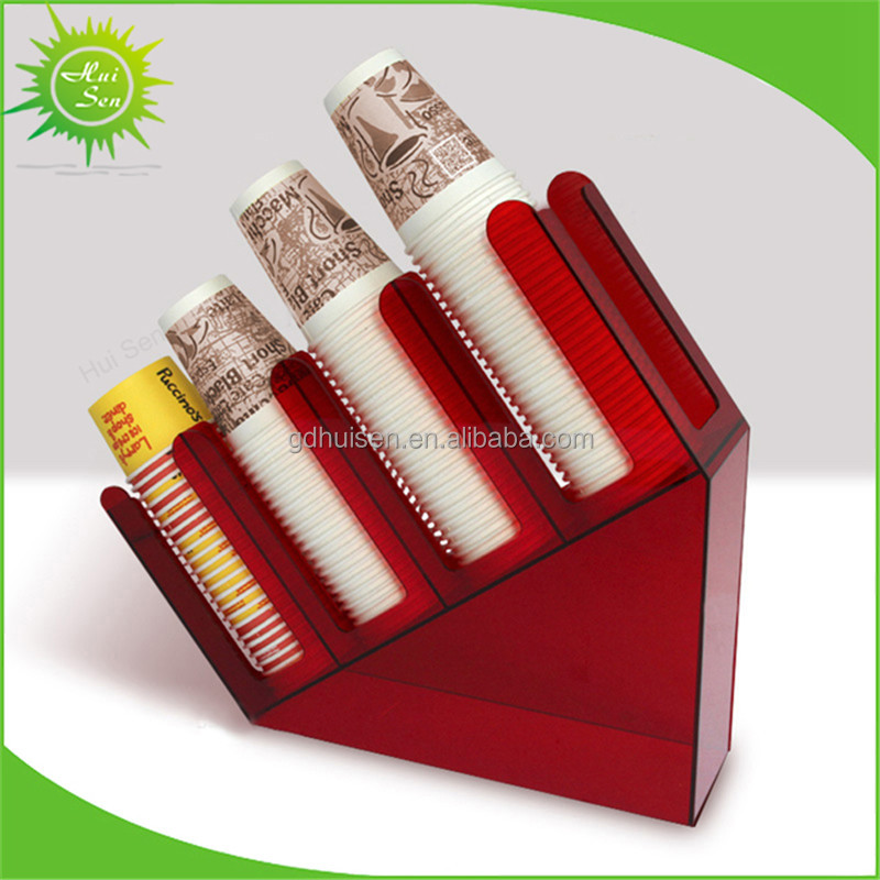 Red Paper Dixie Cup Lid Holder Dispenser Acrylic Organizer Coffee Shop Counter Cafe