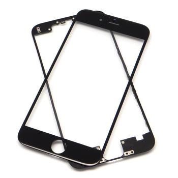 Lcd spare parts front outer glass panel with frame for iphone 6 screen color in black