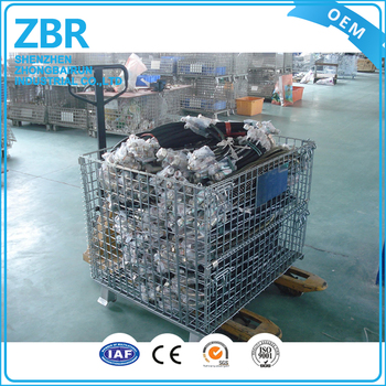 Galvanized Wire Storage Box Shipping Containers Iron Hanging Pallet