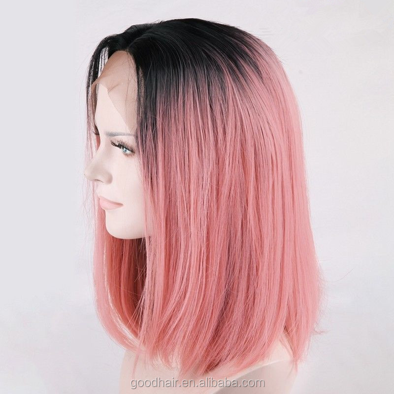 Raw Indian Hair Ombre Pink Short Bob Full Lace Wig Middle Part Men