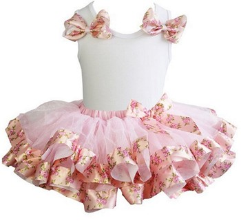 Light Pink Rose Satin Trimmed Tutu with Bows White Tank Top