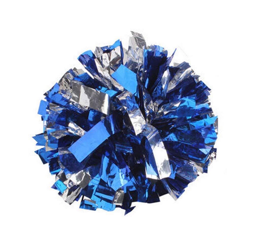Panda Superstore Set of 2 Cheer leading Poms Metallic Foil & Plastic Ring Pom Poms BLUE+SILVER