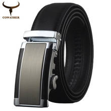 new 2014 Hot sell Men genuine leather belt cowhide high quality auto buckle leather strap Extra large size free shipping AB074