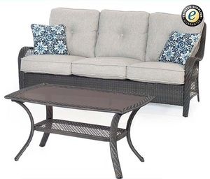 Outdoor Patio Rattan Furniture Three Person Sofa Chair with Coffee Table Set