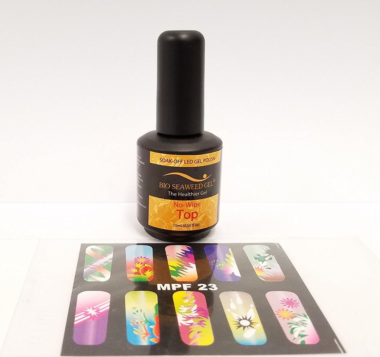 BIO SEAWEED GEL (Made in USA) - (No-wipe TOP COAT) + Buy 3 get 1 Airbrush Stencil