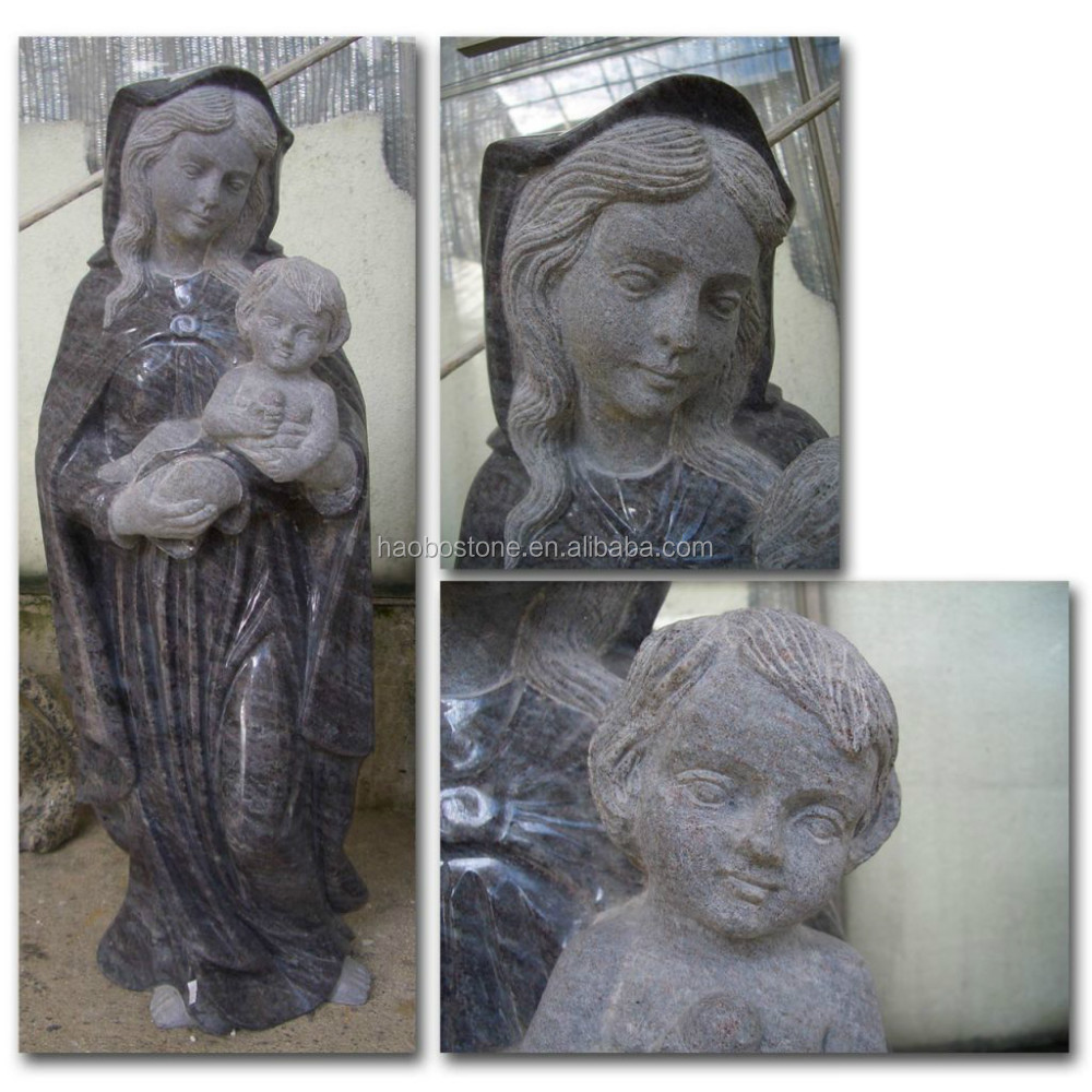 Natural stone Mary and baby Jesus Statue