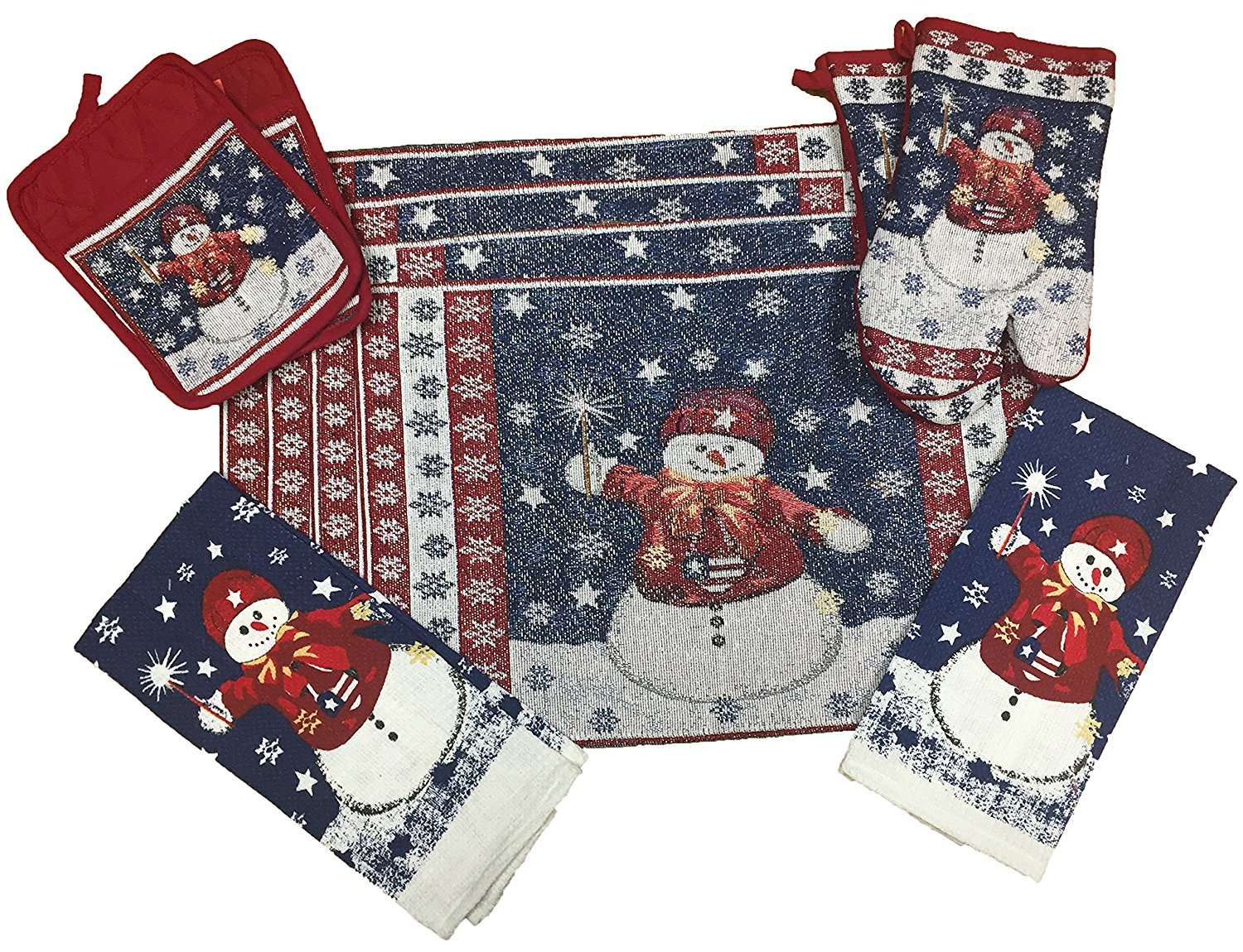 10 piece snowman christmas design tapestry kitchen set 2 oven mitts 2 pot holders