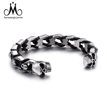 New Design Braided 316L Stainless Steel Skull Mix Leather Rope Cuff Bangle Men Accessories