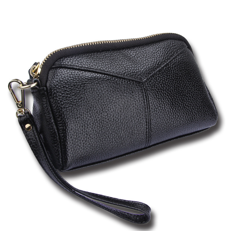 Luxury leather purses hand bag coin wallet cosmetic bag with hand rope