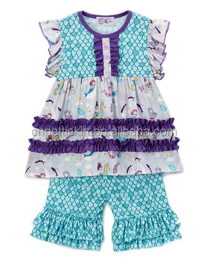 summer outfits 2017 popular mermaid frocks designs top and pants 2 piece boutique outfits fashion wholesale baby clothing set