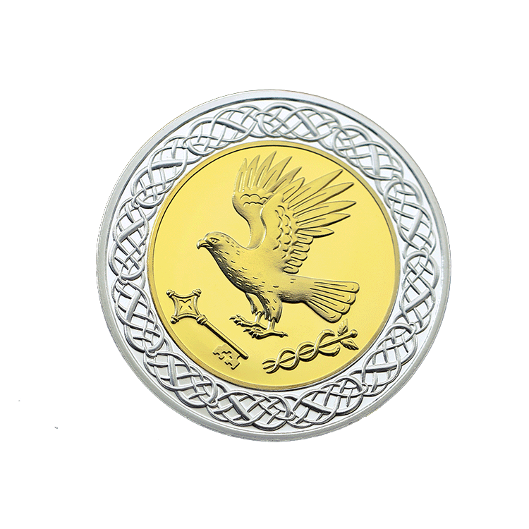 Advanced customization 2D stamp Silver inlaid gold  Zodiac chicken Commemorative coin