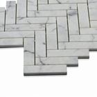 Special shape interior Mosaic Calacatta White Polished Marble Hurringbone Design Marble Mosaic Tiles