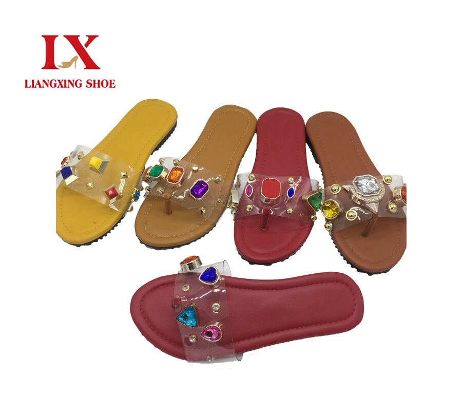 Cheap Price Wholesale Women PVC FlipFlop Slippers Ladies Cheap PVC Slip On Flat Casual Slipper Thongs