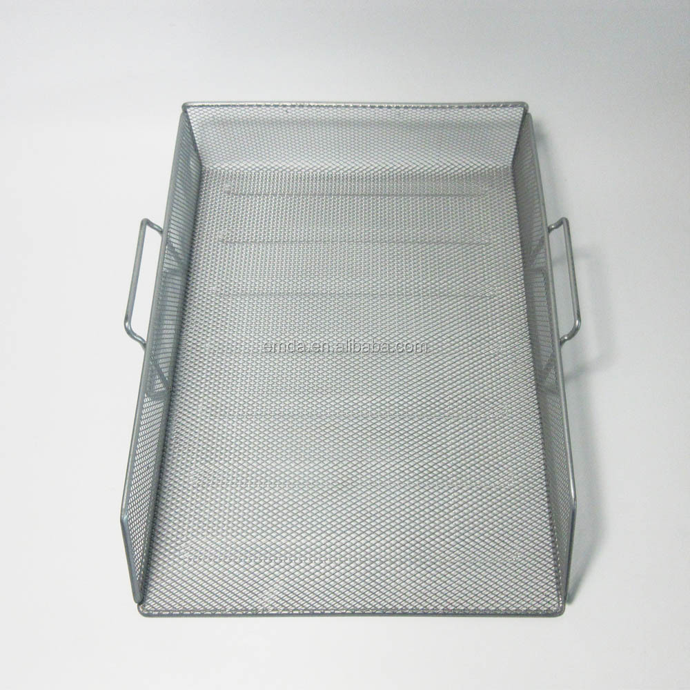 Office stationery desk stackable metal wire mesh 2 layer 3 tier paper document file tray