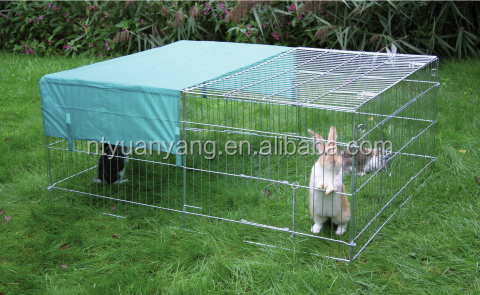 outdoor rabbit hutch with protective net rabbit cage with sunshade in China