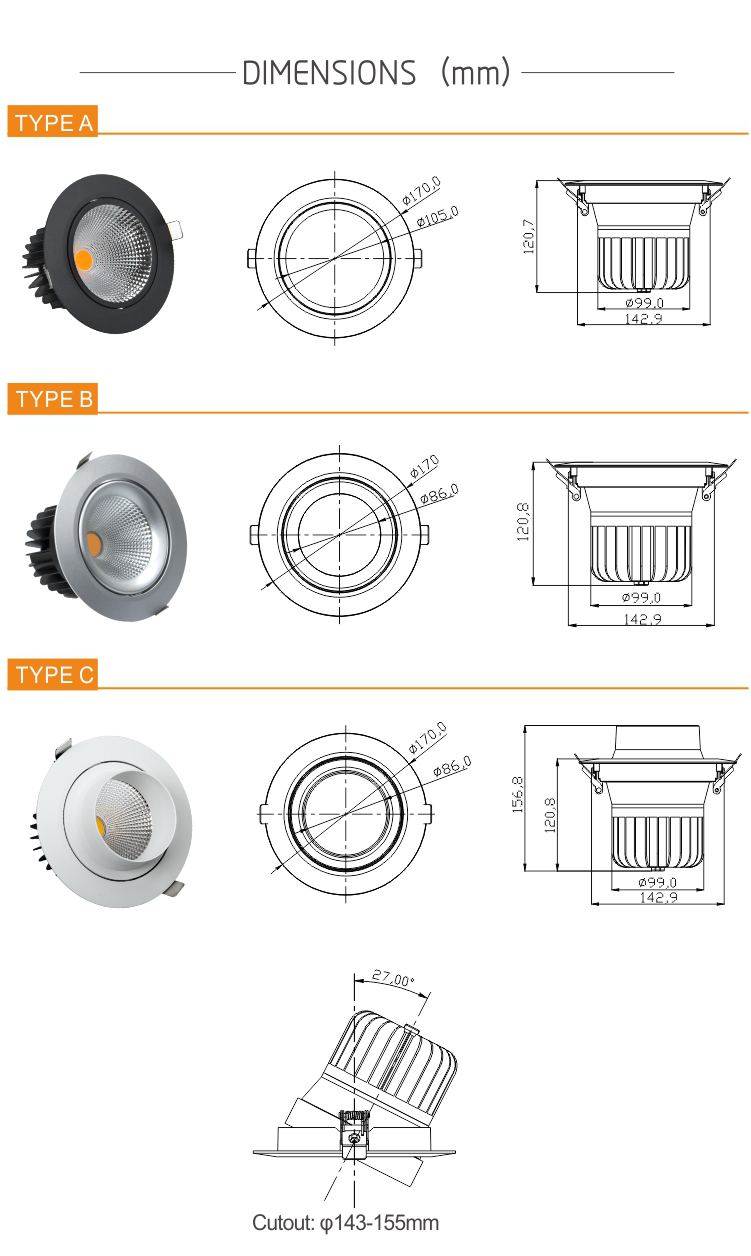 Flicker free 30W (6W-80W) CRI80/90/97 anti-glare 5 years warranty COB LED downlights