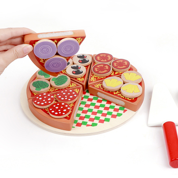 Cutting toys pretend wooden toys wooden pizza set