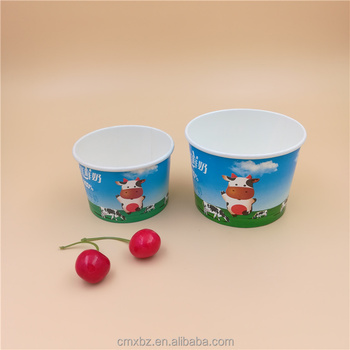 Custom print 6oz 8oz disposable ice cream cups with lids