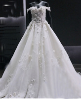Wholesale lace hand made flowers with beads Bridal gown Capped neckline Court long train ball gown wedding dress TS72