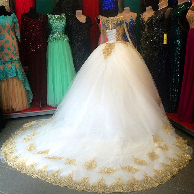 On1314 White Gold Appliques Ball Gown Long Sleeves Wedding Dresses ...