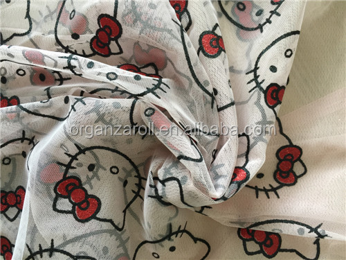 lovely hello kitty design children popular dress fabric printing mesh