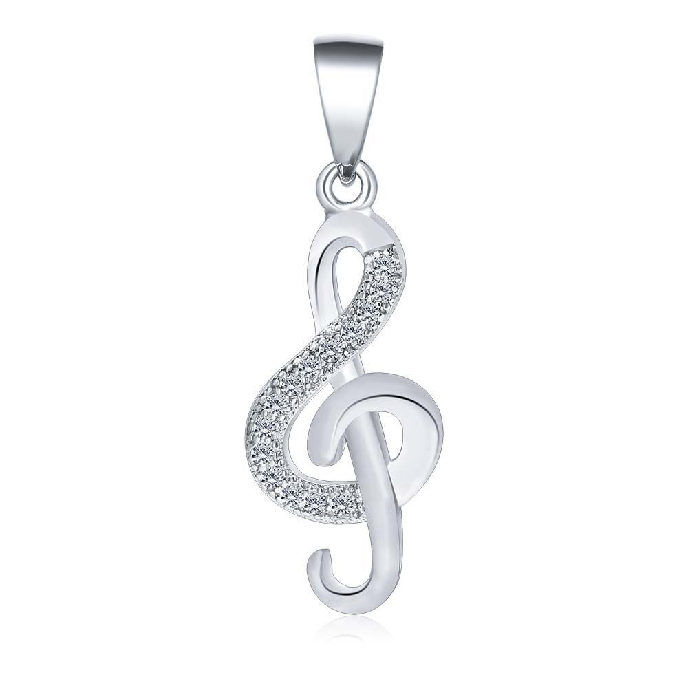 POLIVA Walmart Supplier Special Personalised Jewelry, <strong>Silver</strong> 925 Pave Cubic Zirconia Musical Music Note Necklace Pendants