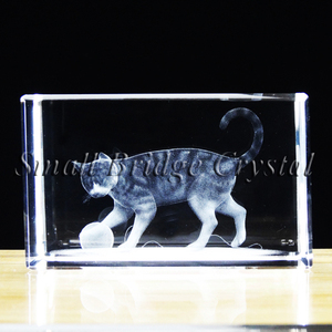 High quality Cat Animal 3d laser engraving etched glass cube souvenirs
