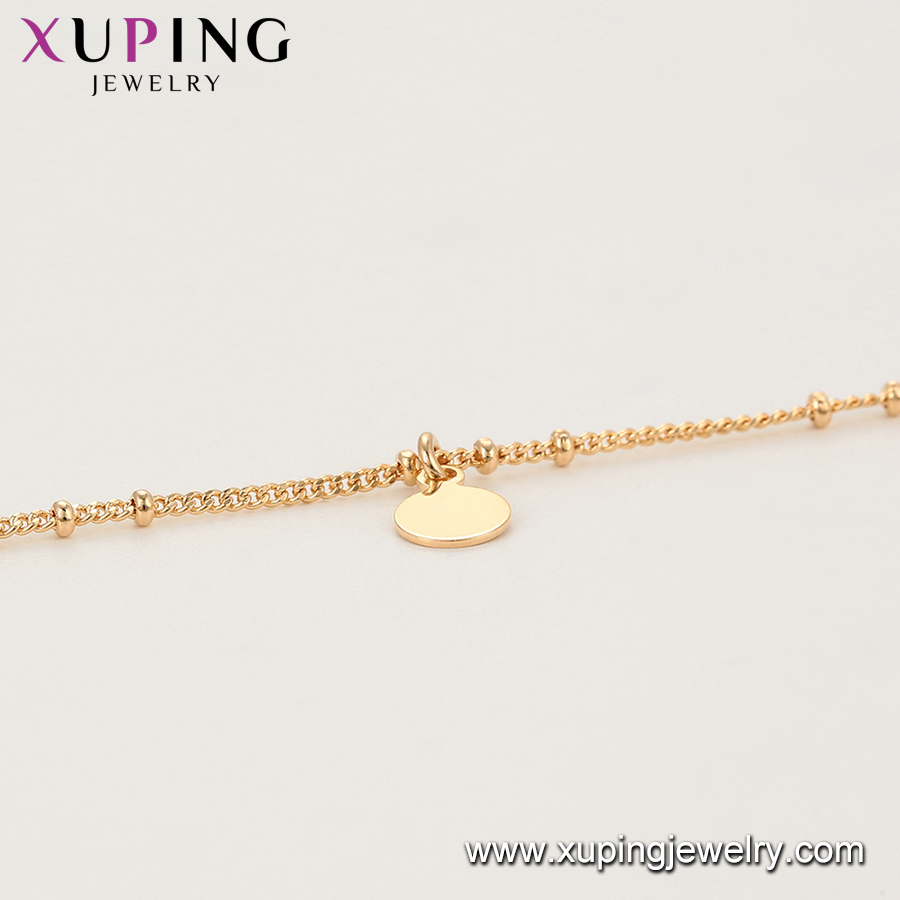 75931 Xuping jewelry vogue gold plated simple design no stone charm bracelet/ankle