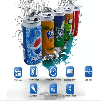 hot sale can Pepsi speaker subwoofer with high acoustic unique Coco Cola speaker rechargeable promotional music player
