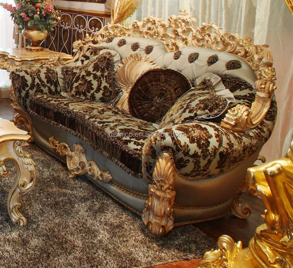 Luxe franse rococo stijl hout gesneden stof bankstel/koninklijke ...