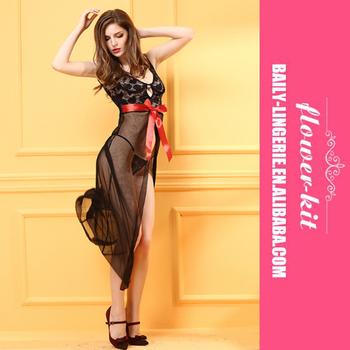 0b2a2e702199 Sexy girls lingerie black long dress babydoll sleepwear underwear Nightwear